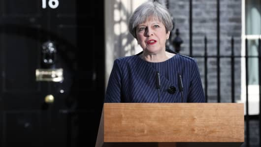 Prime Minister Theresa May makes a statement to the nation at Downing Street on April 18, 2017 in London.