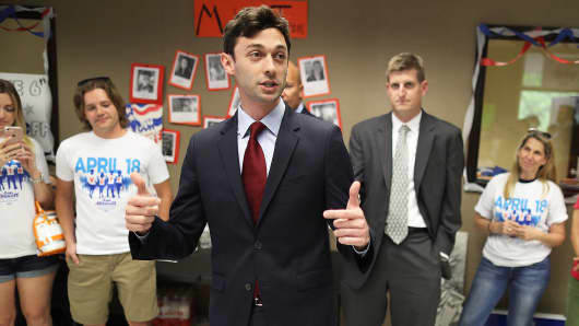 Democratic candidate Jon Ossoff speaks to volunteers and supporters at a campaign office on April 17, 2017 in Atlanta.