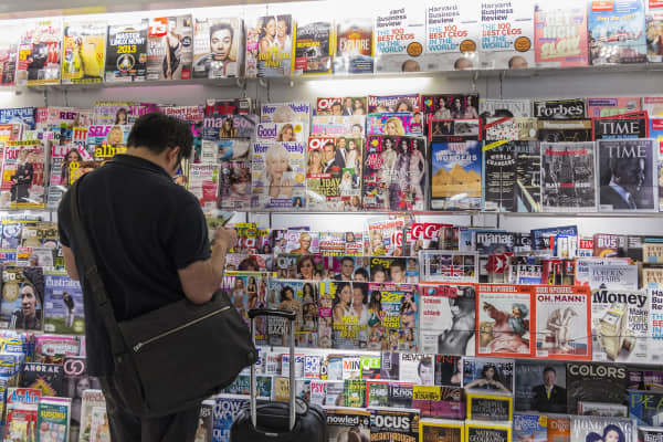 Magazines in a newsagent's shop
