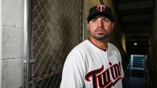 Hector Santiago #53 of the Minnesota Twins poses for a portait during a MLB photo day at CenturyLink Sports Complex Hammond Stadium on February 23, 2017