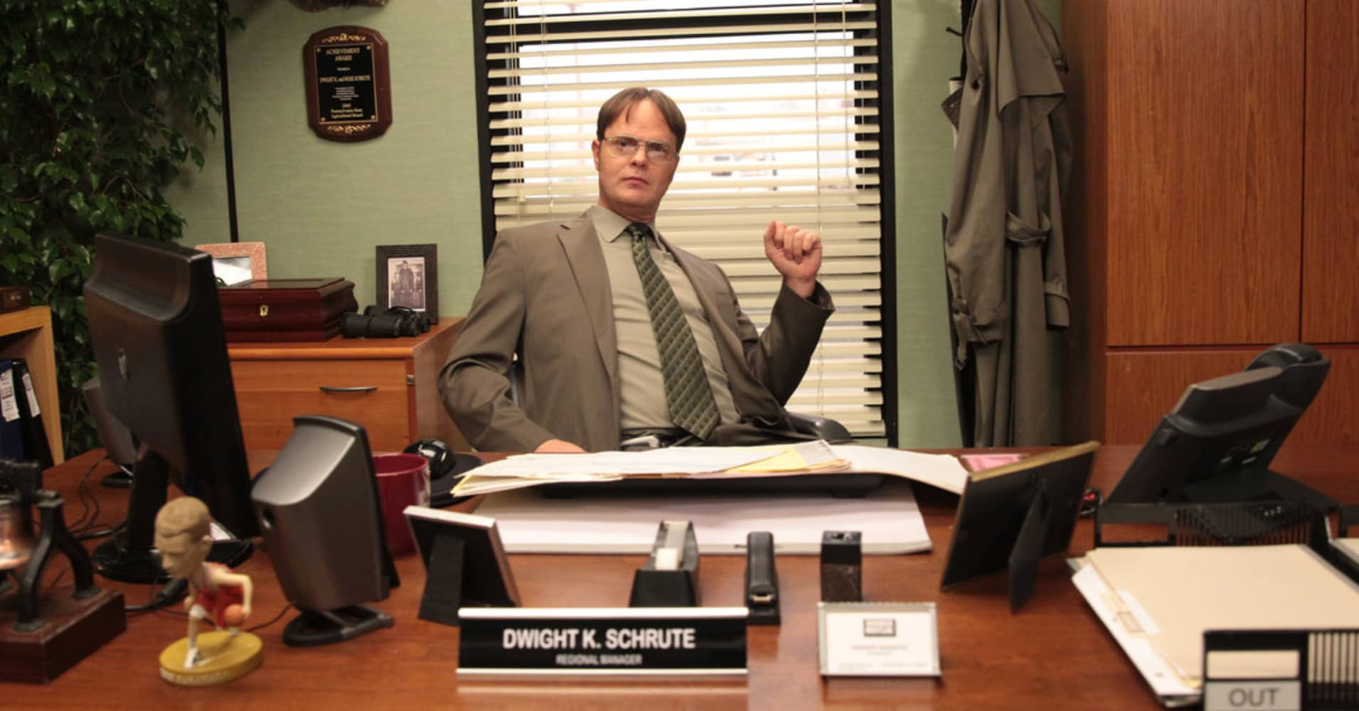 "Dwight Schrute, fictional character on NBC's ""The Office,"" spent years trying to get a promotion."