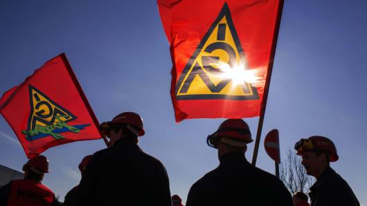 Members of Germany's metal workers' union IG Metall.