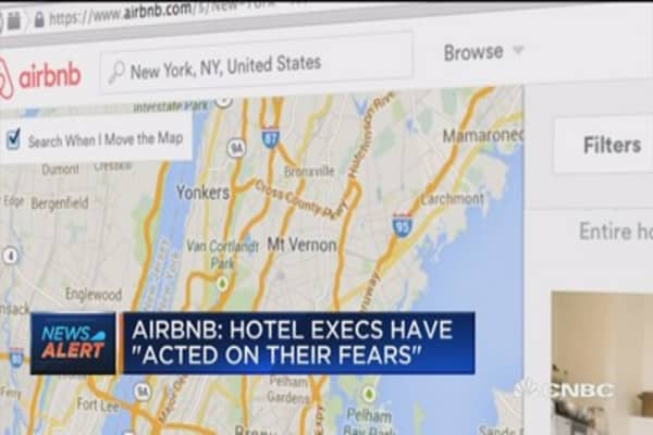 Airbnb: Hotel executives have 'acted on their fears'