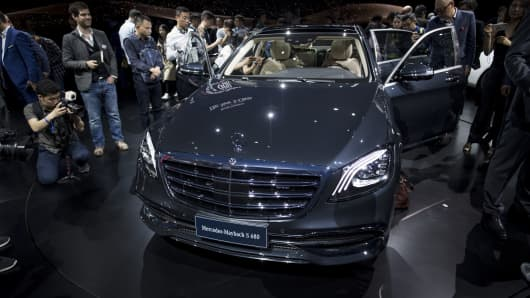 The new Mercedes S class S680 at an event ahead of the 17th Shanghai International Automobile Industry Exhibition in Shanghai on April 18, 2017.