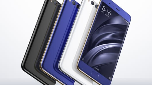 The Xiaomi Mi 6 smartphone unveiled on April 29, 2017, in Beijing, China.