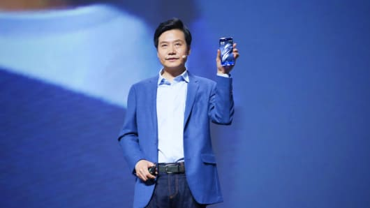 Xiaomi CEO Lei Jun makes a speech during the launch event of the Mi 6 smartphone at Beijing University of Technology on April 19, 2017.