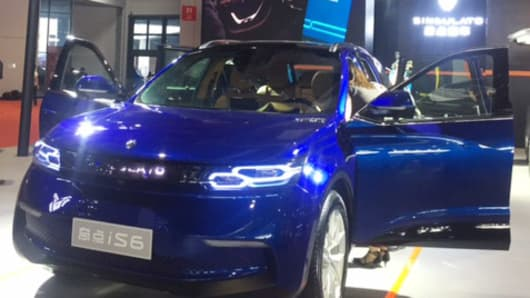 A Singulato iS6 on display at the Shanghai Auto Show on April 18, 2017.