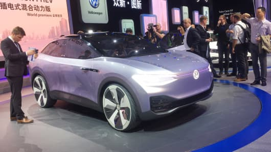 A Volkswagen I.D. CROZZ on display at the Shanghai Auto Show on April 18, 2017.