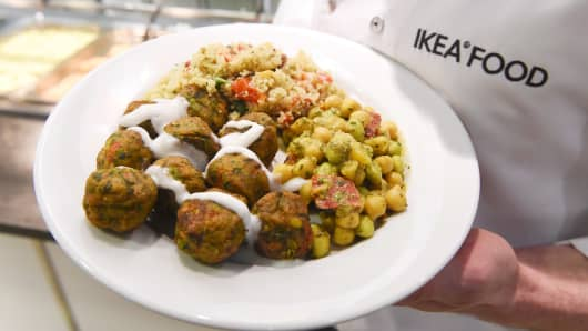 Vegan 'meatballs' on the menu at IKEA.