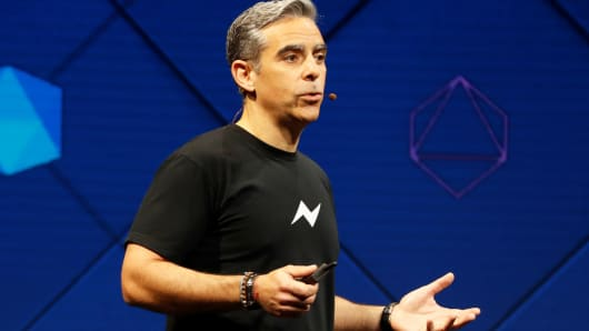 David Marcus, vice president of Messaging Products at Facebook, speaks on stage during the annual Facebook F8 developers conference in San Jose, California, April 18, 2017.