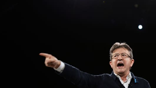 French presidential election candidate for the far-left coalition La France insoumise Jean-Luc Melenchon