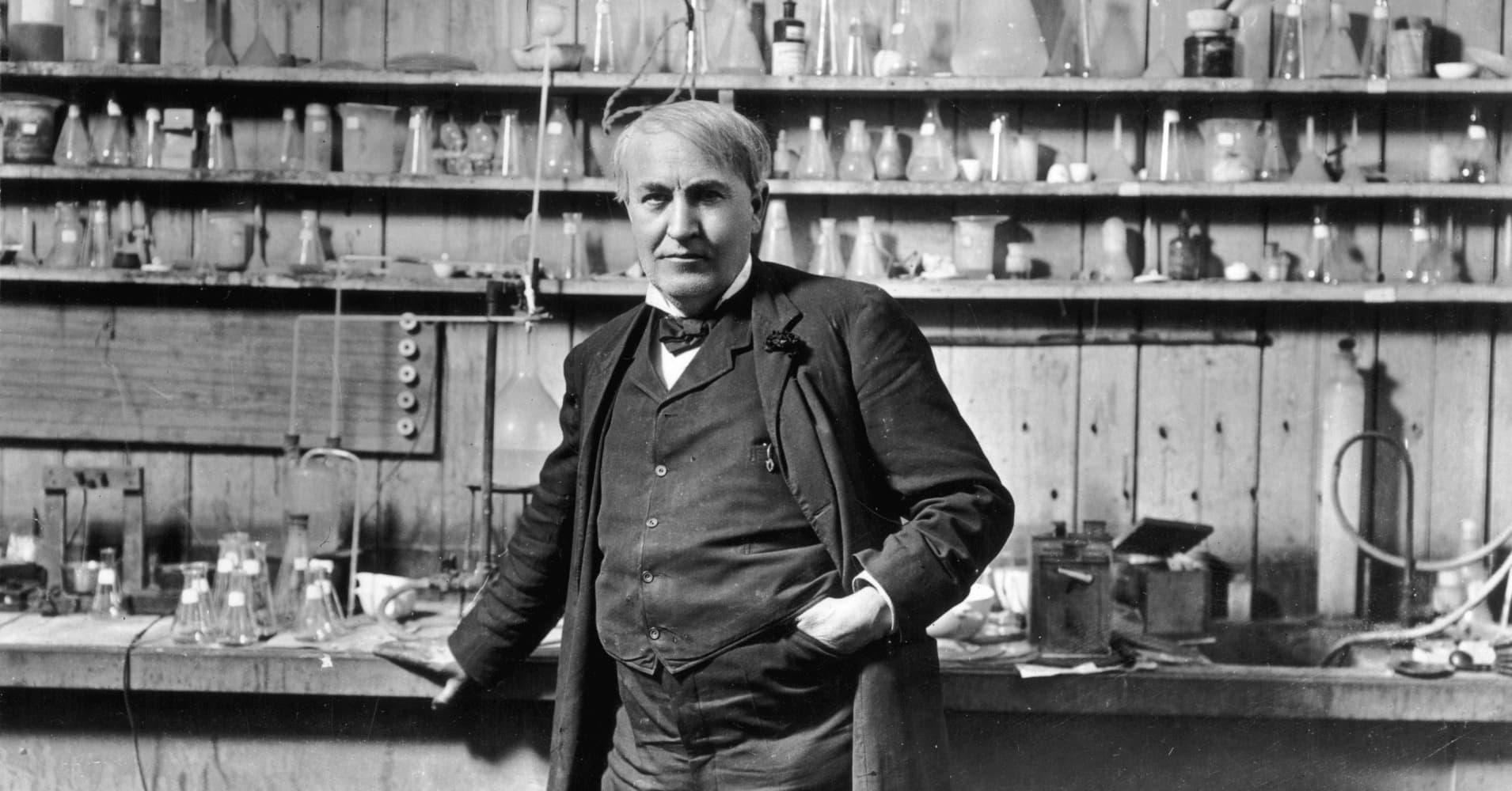 American inventor Thomas Alva Edison (1847-1931) standing in his laboratory, Menlo Park, New Jersey.