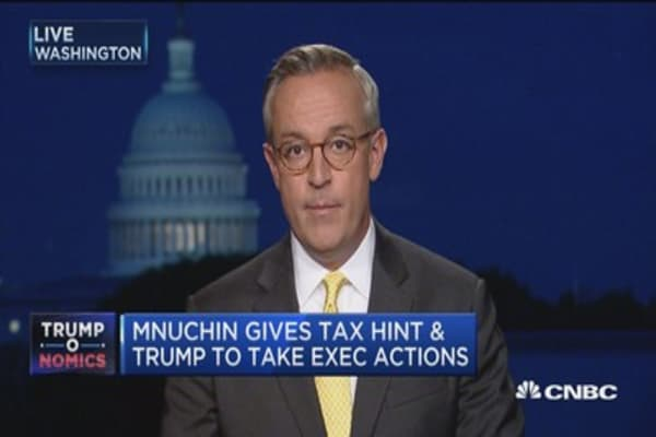 Mnuchin hints at Trump executive action on  tax regulation