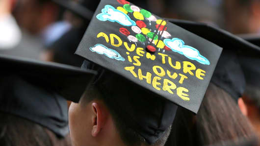 An MIT graduate displays some inspiration on his cap. Massachusetts is the perennial leader for Education and Technology & Innovation.