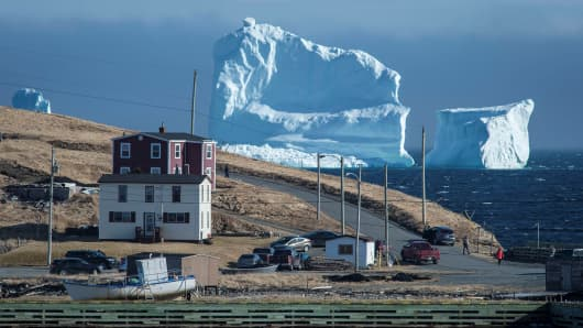 The first iceberg of the season passes the South Shore, also known as Iceberg Alley, near Ferryland, Newfoundland, Canada, April 16, 2017.