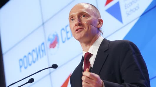 Carter Page, a former foreign policy adviser to President Donald Trump, makes a presentation during a visit to Moscow.