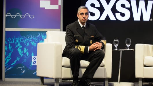 U.S. Surgeon General Vivek Murthy is interviewed during the SxSW Conference at the Austin Convention Center on March 10, 2017 in Austin, Texas.