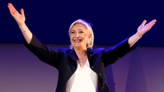Marine Le Pen, French National Front (FN) political party leader and candidate for French 2017 presidential election, celebrates after early results in the first round of 2017 French presidential election, in Henin-Beaumont, France, April 23, 2017.