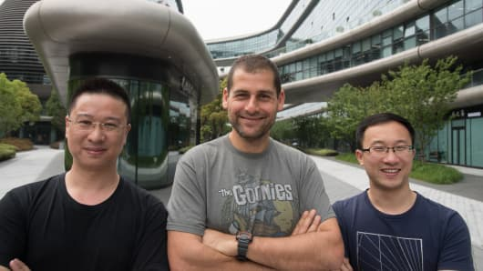 LeapLearners' founders: (L-R) Leo Zhao, CTO, Ami Dror, CEO LeapLearner, and Aaron Tian, CEO LeapLearner China