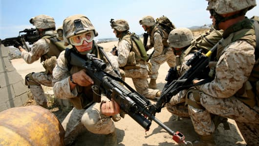 U.S. Marine Corps reservists with the 1st Battalion, 24th Marine Regiment at Camp Pendelton in Oceanside, Calif.