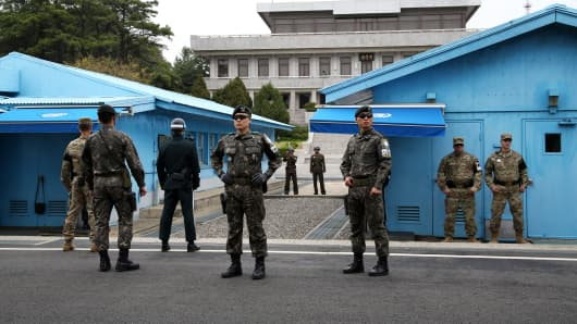 U.S. and South Korean soldiers at the Demilitarized Zone (DMZ) in Paju, South Korea