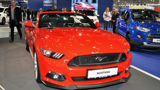 This Ford Mustang is displayed during the Vienna Autoshow, as part of Vienna Holiday Fair. The Vienna Autoshow will be held January 12-15, on January 11, 2017 in Vienna, Austria.