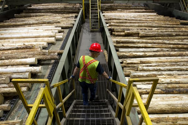 A superintendent of the West Fraser Timber Co. sawmill, monitors logs on the production line at the company's facility in Quesnel, British Columbia, Canada.