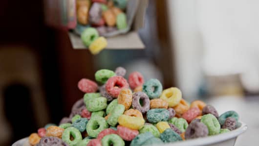 Kellogg Co. Froot Loops brand breakfast cereal.