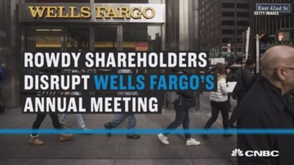 Here's audio of a rowdy shareholder disrupting Wells Fargo annual meeting