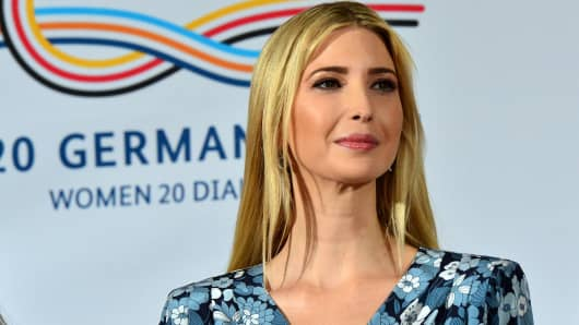 Ivanka Trump, daughter and adviser of U.S. President Donald Trump talks during a panel at the W20 Summit in Berlin on April 25, 2017.