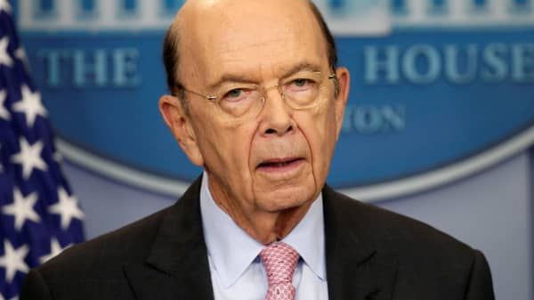 Commerce Secretary Wilbur Ross speaks about new tariffs on Canadian softwood lumber from the White House in Washington, April 25, 2017.