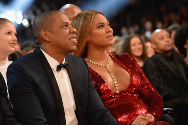 Beyonce and Jay Z during The 59th GRAMMY Awards