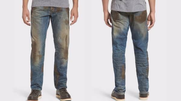 Nordstrom is selling these mud-covered jeans for $425