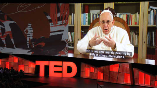Pope Francis speaks during the TED Conference, urging people to connect with and understand others, during a video presentation at the annual scientific, cultural and academic event in Vancouver, Canada, April 25, 2017.