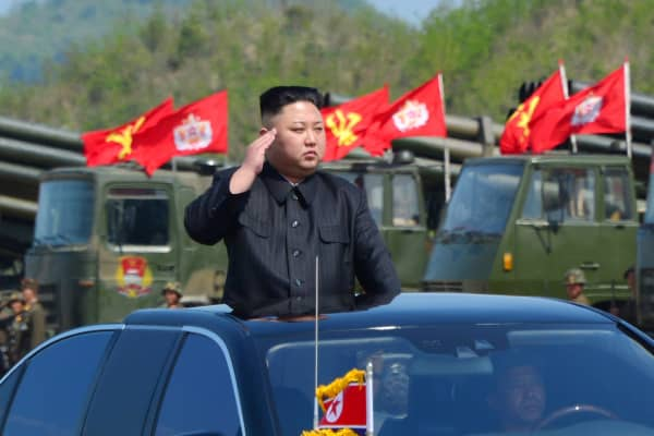 North Korea's leader Kim Jong Un watches a military drill marking the 85th anniversary of the establishment of the Korean People's Army (KPA).