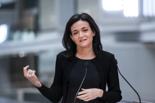 Facebook COO Sheryl Sandberg delivers a speech in Paris, France.