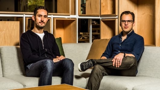Instagram's founders, Kevin Systrom, left, and Mike Krieger, at the company's headquarters in Menlo Park, Calif., April 24, 2017. Instagram, now with 700 million users, resembles Facebook in 2009 to 2012, when it went from being something people used occasionally to something they use every day.