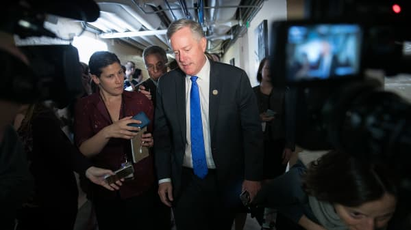 Rep. Mark Meadows (R-NC), Chairman of the House Freedom Caucus, answers questions while leaving a meeting of the House Republican caucus at the U.S. Capitol April 26, 2017 in Washington, DC.