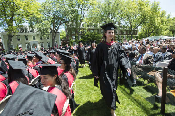 Commencement ceremonies at the Harvard Business School campus in front of Baker Library, in Boston, MA.