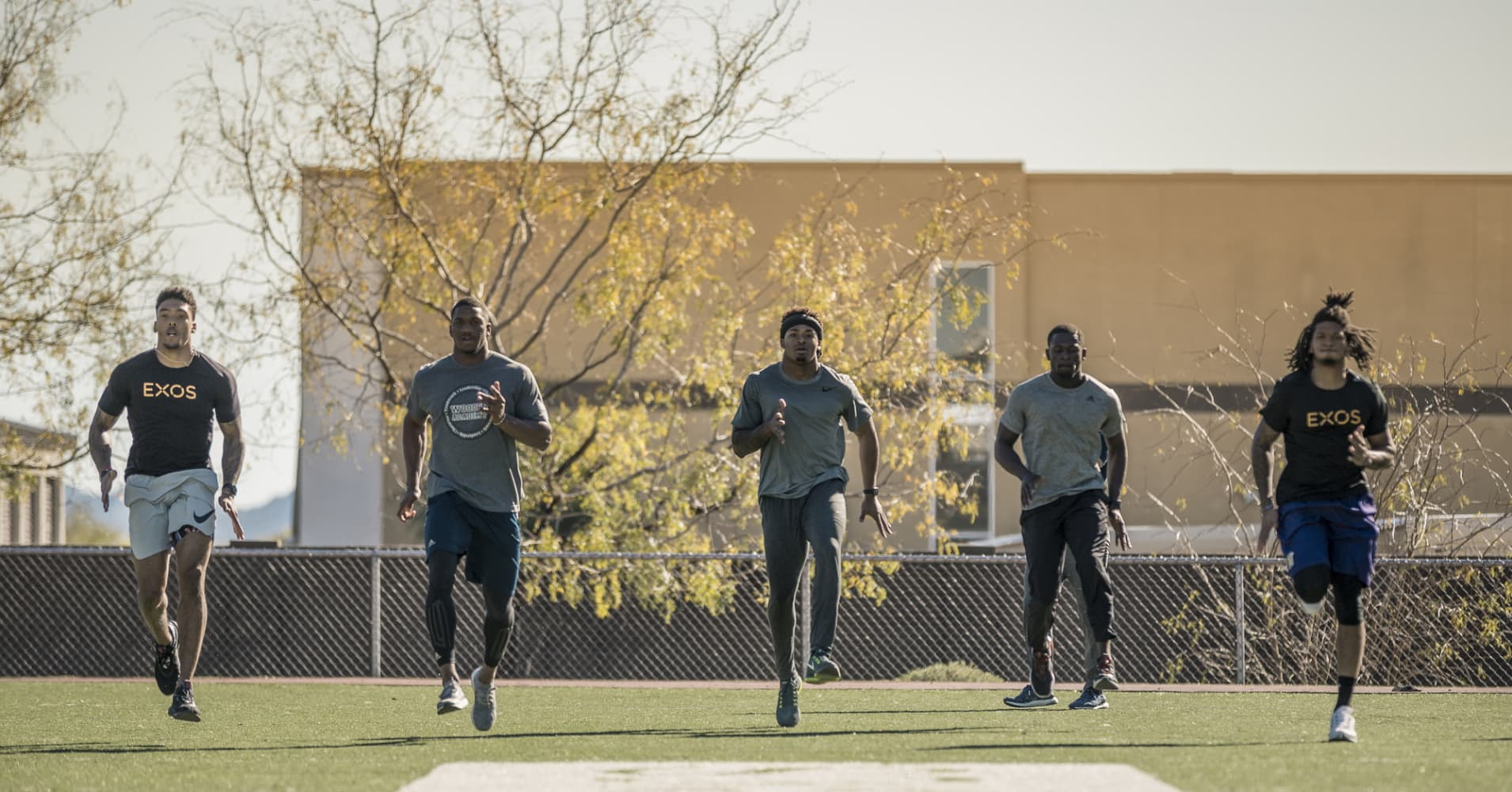 (From left to right)  NFL prospects Brandon Langly, Fabian Moreau, Jamal Adams, Tre'Davious White and Sidney Jones at EXOS' 2017 Combine training class at the company's Phoenix, AZ headquarters.