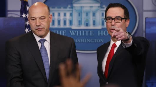 U.S. National Economic Director Gary Cohn (L) and Treasury Secretary Steven Mnuchin unveil the Trump administration's tax reform proposal in the White House briefing room in Washington, U.S, April 26, 2017.
