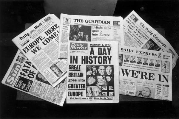 The front covers of London newspapers reporting Britain's entry into the Common Market.