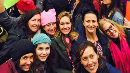 Members of Mobilizing Montclair at the Women's March on Washington. The activist group, which grew out of the widespread dismay over the election of President Trump, send 16 buses packed with women to Washington for the protest.