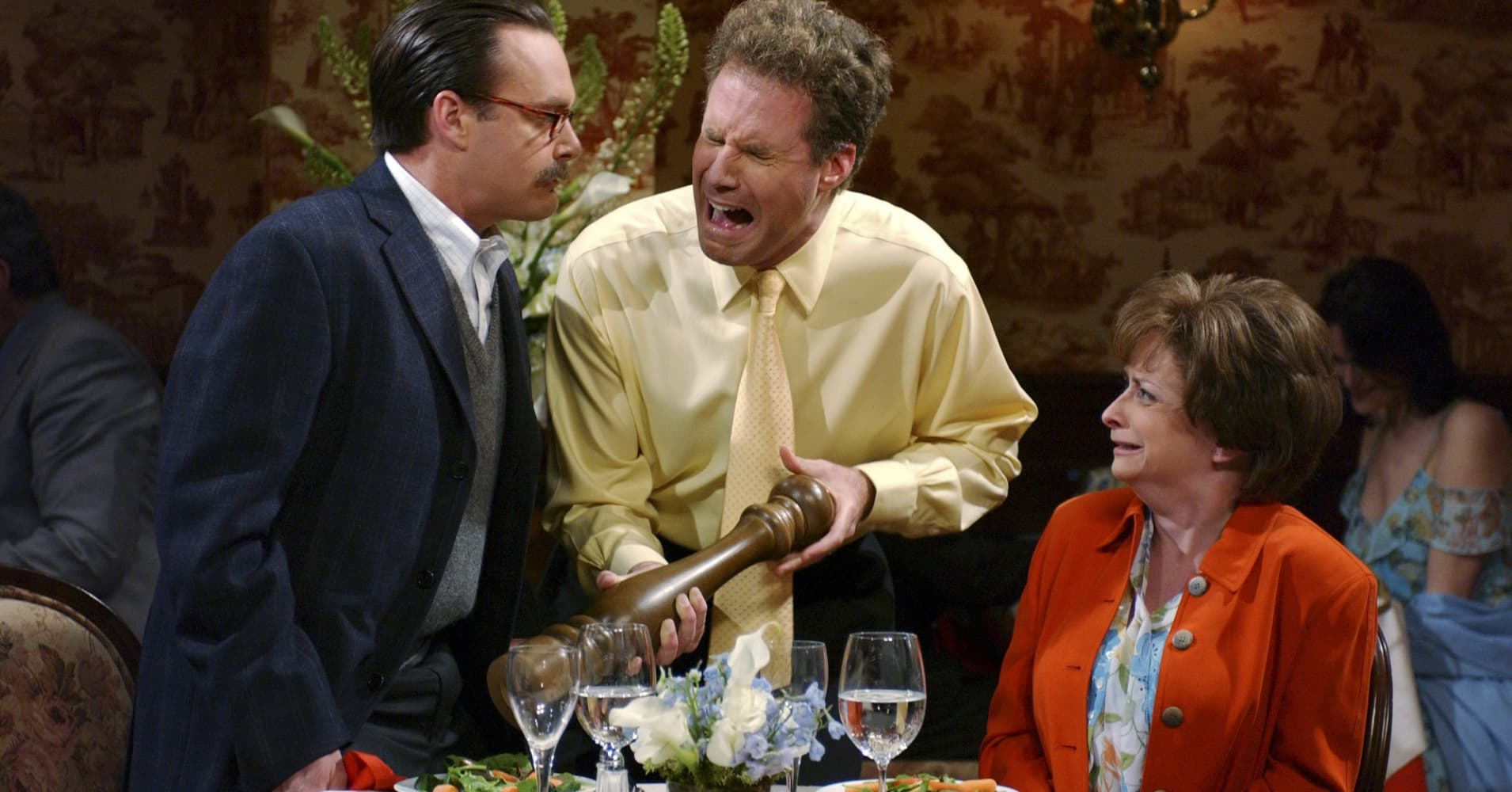 Will Forte as Lewis Roberts, Will Ferrell as Kevin, Rachel Dratch as Lewis Roberts during 'Pepper Grinder' skit on 'Saturday Night Live.'