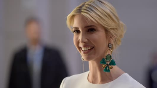 Ivanka Trump, daughter of U.S. President Donald Trump, arrives at a Gala Dinner at Deutsche Bank within the framework of the W20 summit on April 25, 2017 in Berlin, Germany.