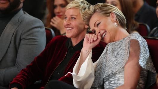 TV personality/actress Ellen DeGeneres (L) and actress Portia de Rossi attend the People's Choice Awards 2017 at Microsoft Theater on January 18, 2017 in Los Angeles, California.
