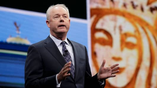 Kevin Johnson of Starbucks speaks at the Annual Meeting of Shareholders at McCaw Hall in Seattle, Washington.