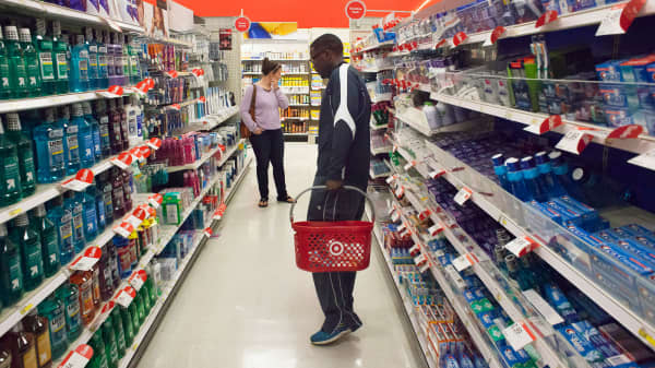 Customers shop at a Target store in Seattle, Washington.