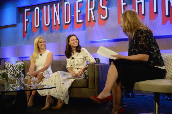 Actor and producer Reese Witherspoon (L) and founder of Forerunner Ventures Kirsten Green.