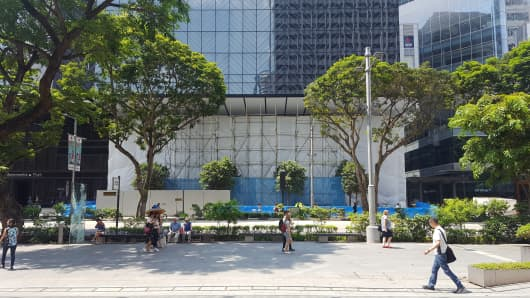The soon-to-be opened Apple store under construction in Singapore.